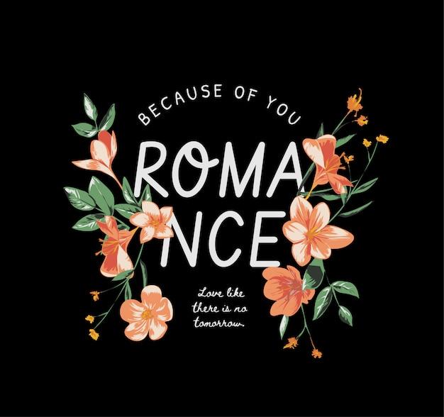 Romantik slogan mit vintage blume auf schwarz Premium Vektoren