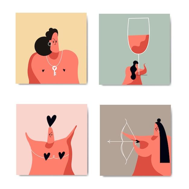 Romantik und liebesbild eingestellt Kostenlosen Vektoren
