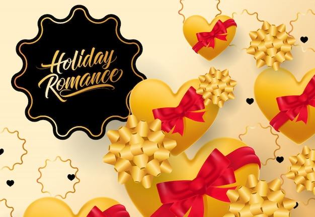 Romantische beschriftung des feiertags im rahmen auf steigungshintergrund Kostenlosen Vektoren