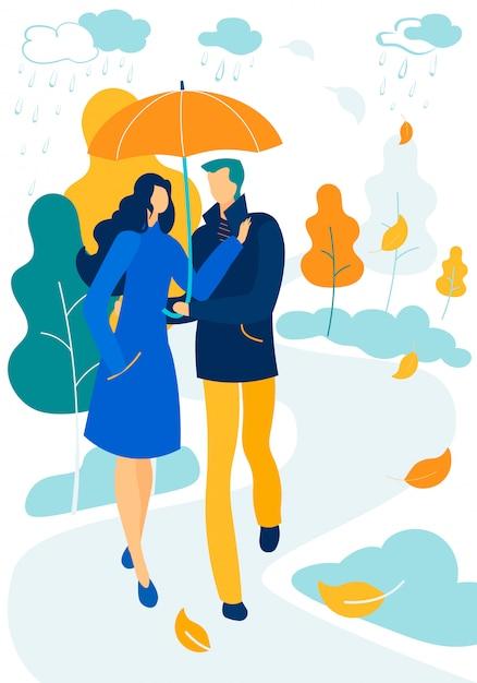 Romantische beziehungen, herbsttag promenade zusammen Premium Vektoren