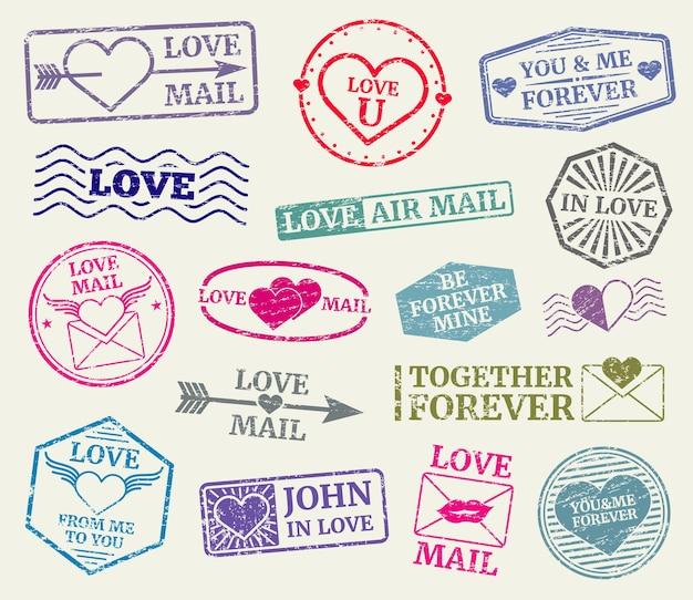 Romantische briefmarke für valentinstagkarte, liebesbriefe. satz gummidichtung für liebespost. vect Premium Vektoren