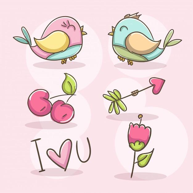 Romantische elemente mit vögeln Kostenlosen Vektoren