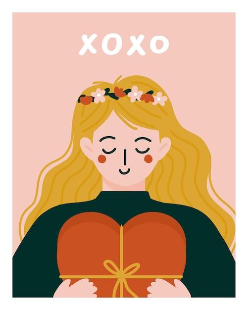 Romantische frau, die geschenk zum valentinstag gibt. Premium Vektoren