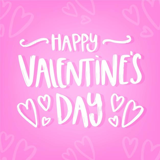 Romantische glückliche valentinstagbeschriftung Kostenlosen Vektoren
