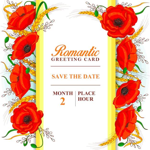Romantische grußkartenschablone mit mohnblumen und den weizenähren Premium Vektoren