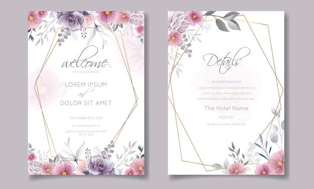 Romantische hochzeitseinladung mit schönem rosen- und kosmosblumenaquarell Premium Vektoren