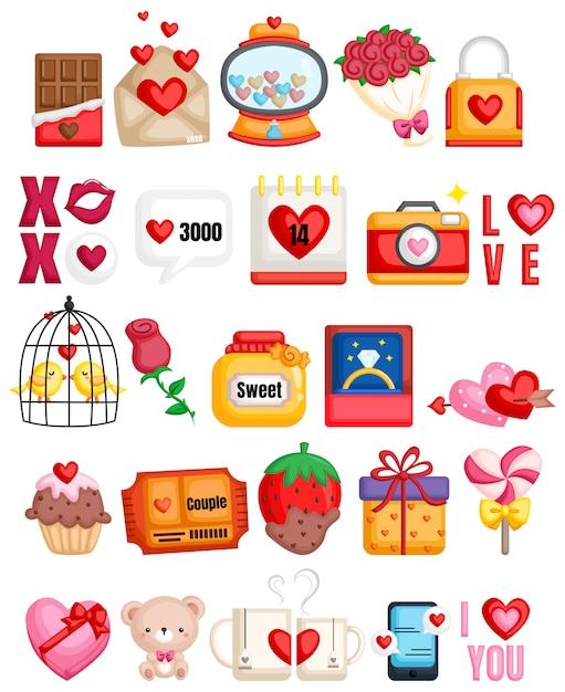 Romantische icons sammlung Premium Vektoren