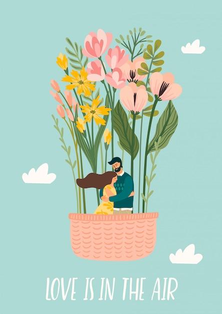Romantische illustration mit mann und frau. liebe, liebesgeschichte, beziehung. Premium Vektoren
