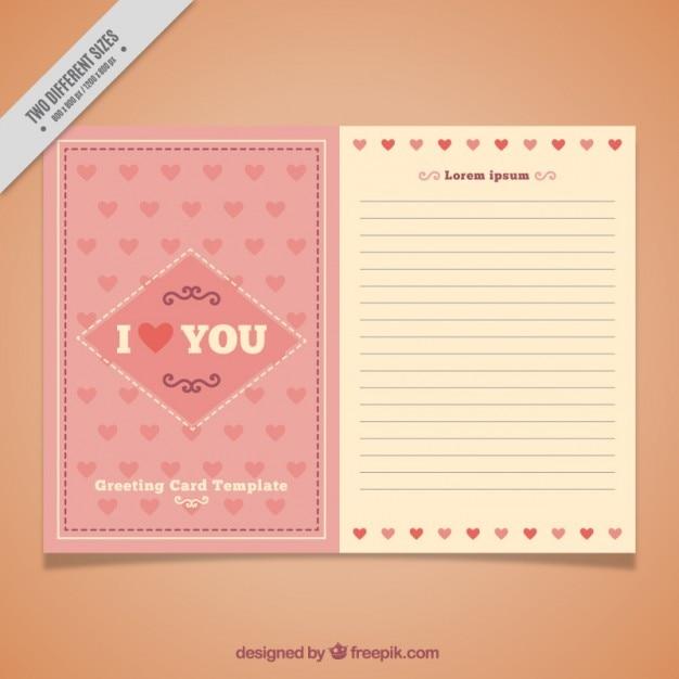 Romantische Karte Vorlage Mit Herz Download Der Kostenlosen Vektor