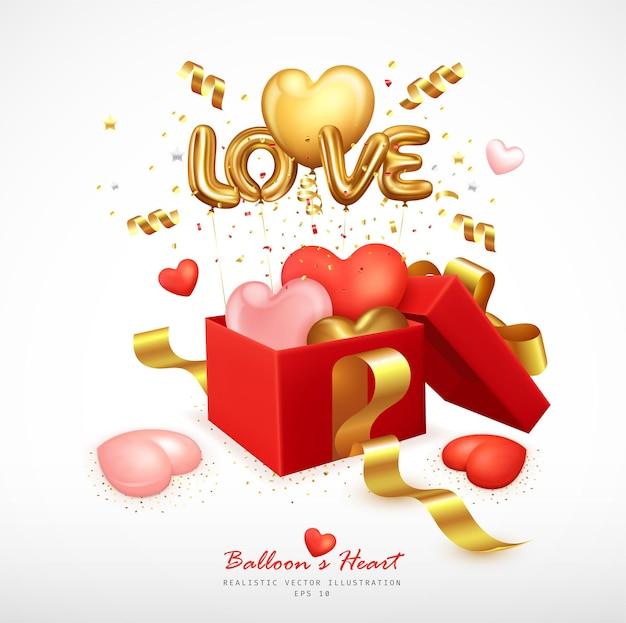 Romantische luftballons herz- und buchstabenliebe springen von der geschenkbox ab Premium Vektoren