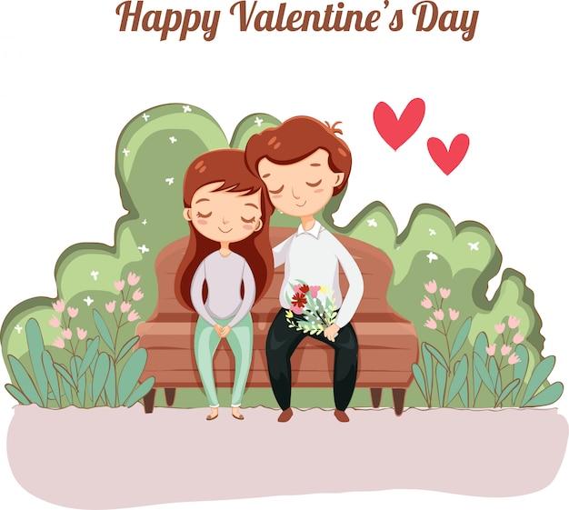Romantische paare für valentinsgrußgrußkarte Premium Vektoren