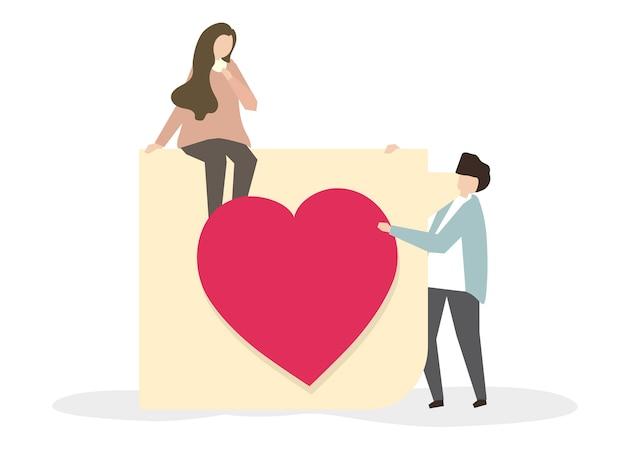 Romantische paare in der liebesillustration Kostenlosen Vektoren
