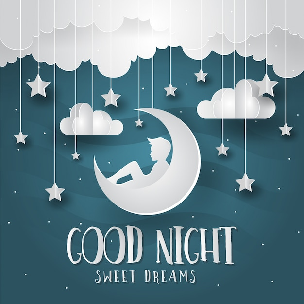Romantische Papier Kunst Stil Gute Nacht Karte Illustration