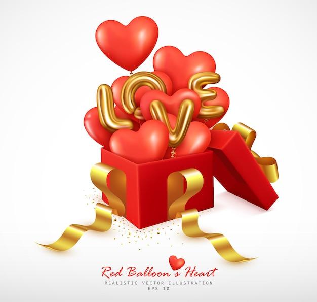 Romantische rote luftballons herz- und buchstabenliebe springen von der geschenkbox ab Premium Vektoren