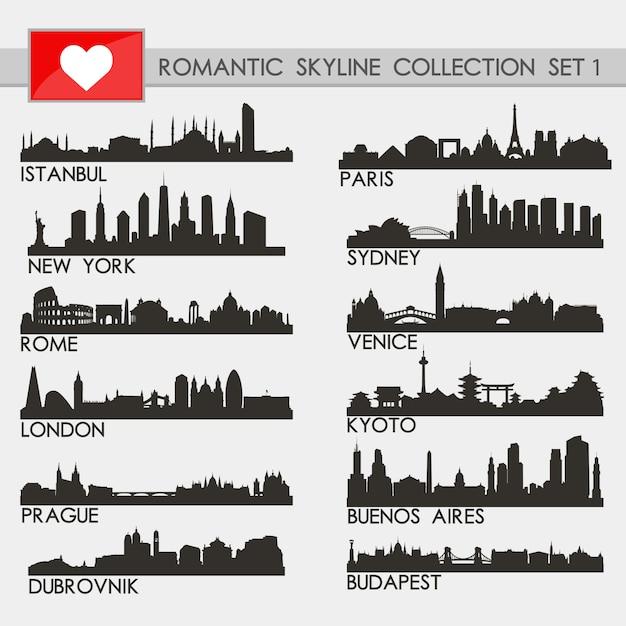 Romantische städte-skyline-sammlung Premium Vektoren