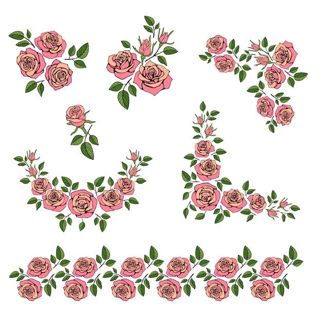 Romantischer hochzeitsblumenstrauß mit den roten rosen eingestellt Premium Vektoren