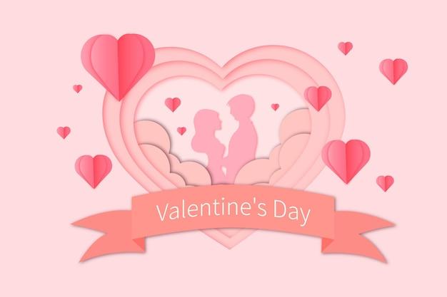 Romantischer valentinstag papierschnitt Premium Vektoren