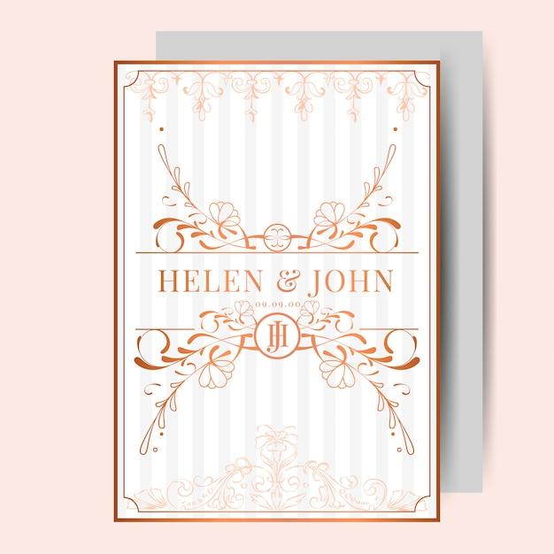 Romantischer vintage jugendstil hochzeitseinladungskarten modellvektor download der - Hochzeitseinladungskarten vintage ...
