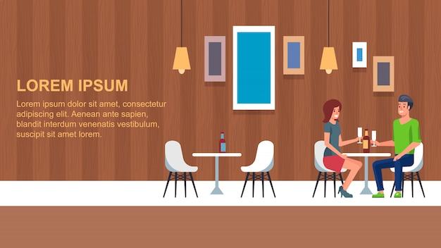 Romantisches abendessen im restaurant Premium Vektoren