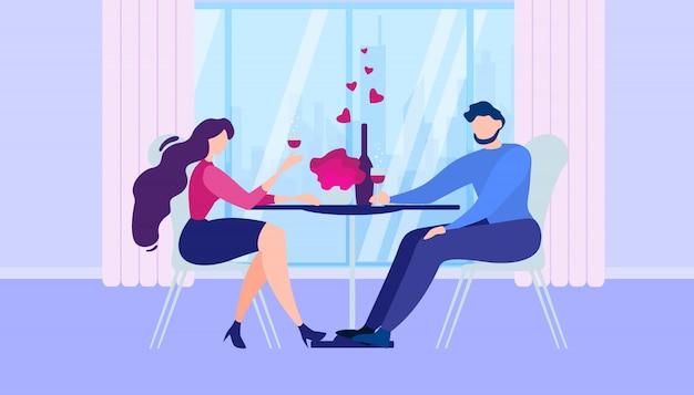 Romantisches abendessen zu hause karikatur-mann-frauen-küche Premium Vektoren