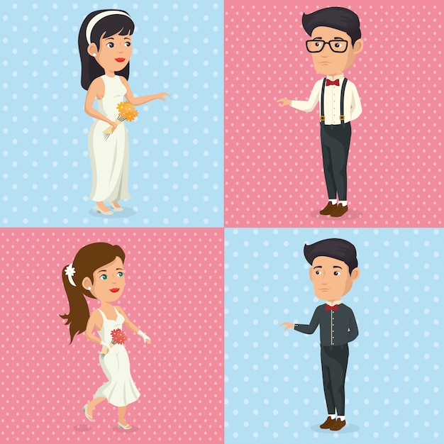 Romantisches bild der gerade verheirateten gesetzten charakteraufstellung Kostenlosen Vektoren