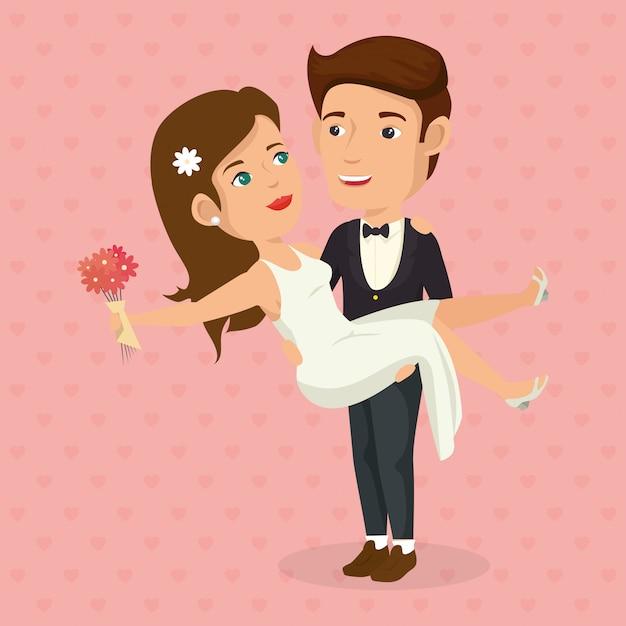 Romantisches bild des gerade verheirateten paares Kostenlosen Vektoren