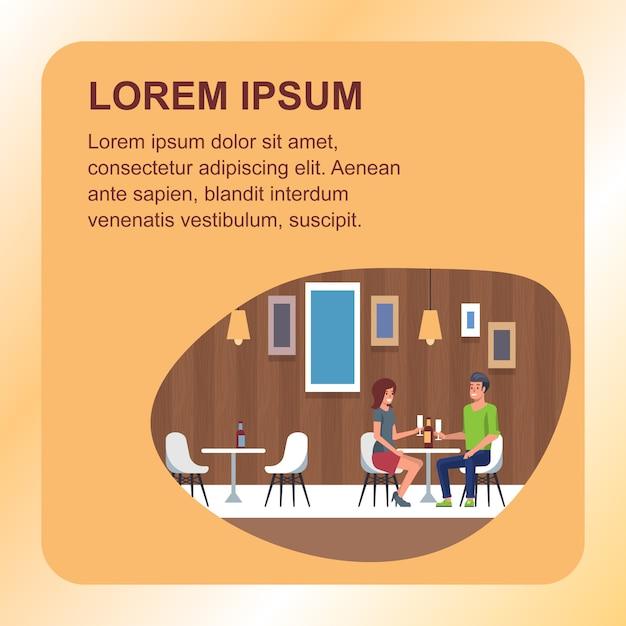 Romantisches date dining im restaurant Premium Vektoren