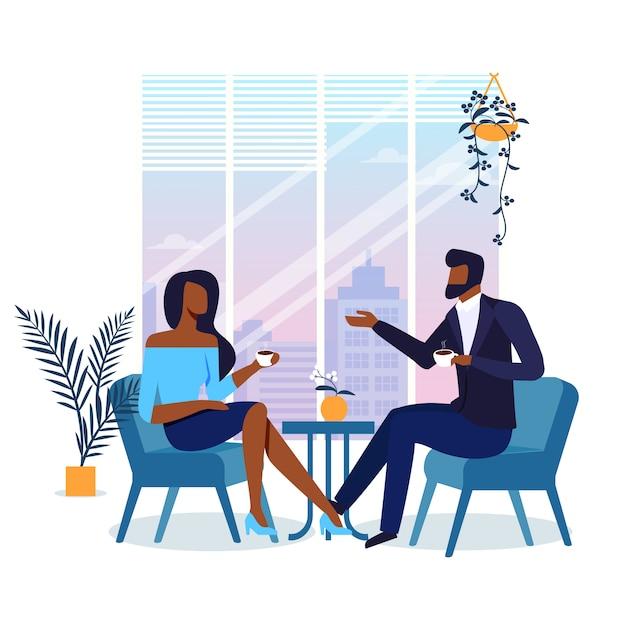 Romantisches date in der café-flachen illustration Premium Vektoren