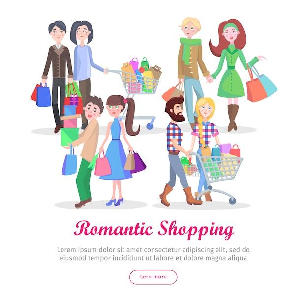 Romantisches einkaufsschablonen-karikatur-flaches vektor-konzept Premium Vektoren