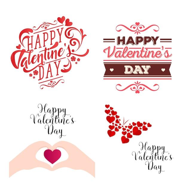 Romantisches glückliches valentinsgruß-karten-element-illustrations-set Kostenlosen Vektoren