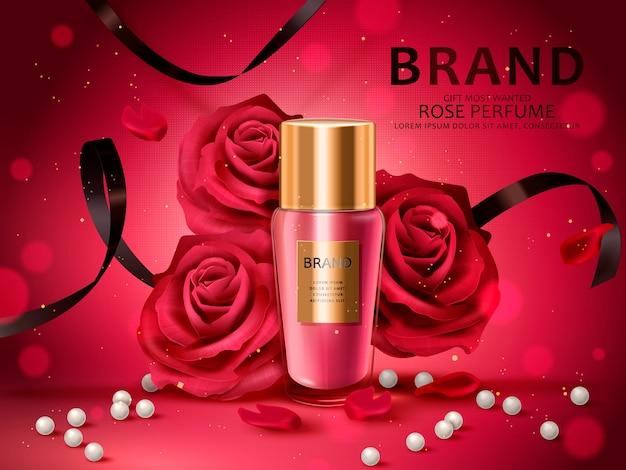 Romantisches kosmetikset, rosenduft mit roten rosen, weißer perle und schwarzen bändern isolierte 3d illustration Premium Vektoren
