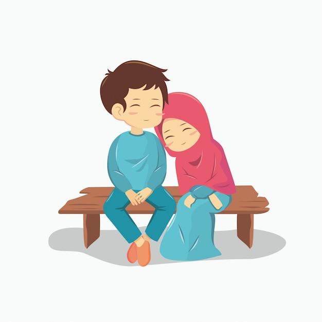 Romantisches muslimisches paar Premium Vektoren