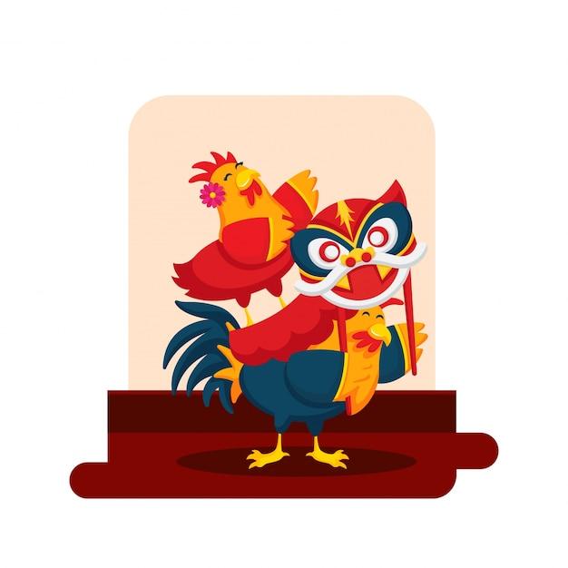 Romantisches nettes hahn-paar-cartoon-charakter-illustration des chinesischen neujahrsfests Kostenlosen Vektoren