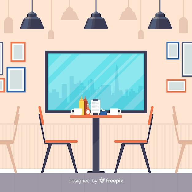 Romantisches restaurant interieur mit flachem design Kostenlosen Vektoren