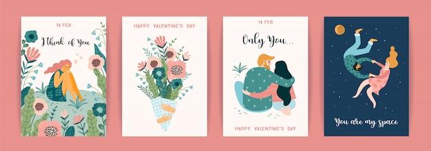 Romantisches set mit niedlichen illustrationen für den valentinstag und andere nutzer. Premium Vektoren
