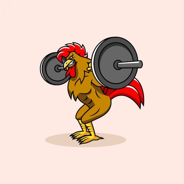 Rooster gym logo Premium Vektoren