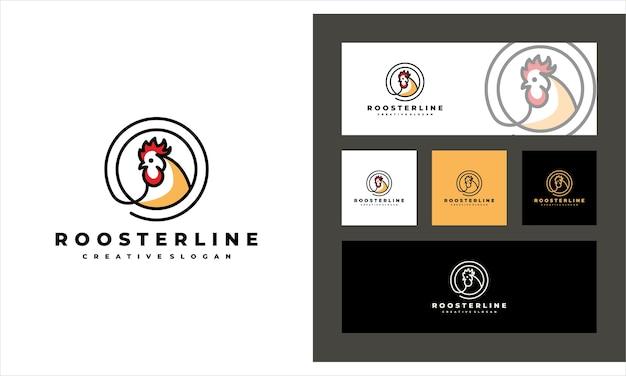 Rooster line art kreative vieh logo vorlage Premium Vektoren