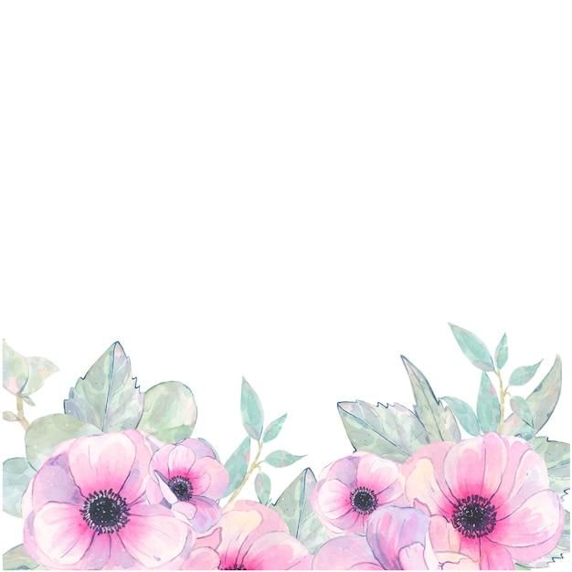 Rosa anemonen-einladungskarte der handgemalten blume des aquarells lokalisiert auf weiß Kostenlosen Vektoren