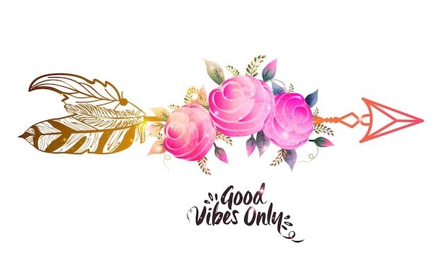 Rosa aquarell blumen mit ethnischen pfeil. kreative boho-stil-illustration. Kostenlosen Vektoren