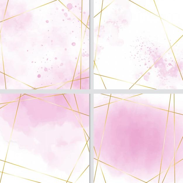 Rosa aquarellspritzenhintergrund mit goldener rahmensammlung Premium Vektoren