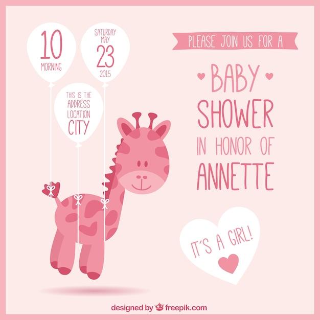 rosa babyparty einladung mit einer giraffe download der kostenlosen vektor. Black Bedroom Furniture Sets. Home Design Ideas