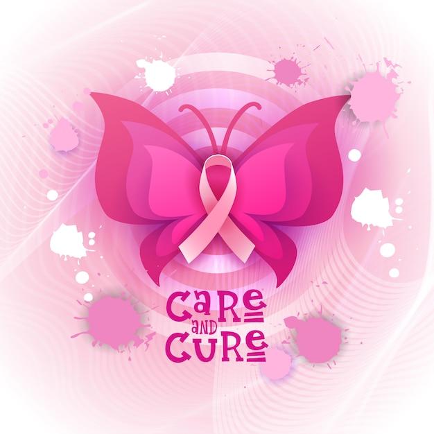 Rosa band-schmetterlings-brustkrebs-bewusstseins-fahne Premium Vektoren