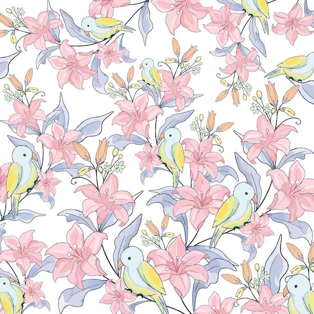 Rosa blume und netter vogel im garten. Premium Vektoren