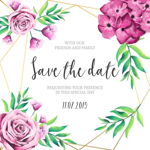 Rosa blumen, die einladung mit goldenem rahmen wedding sind Kostenlosen Vektoren