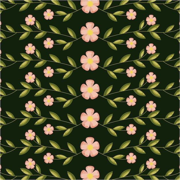 Rosa blumen und grünblätter, musterillustration Kostenlosen Vektoren