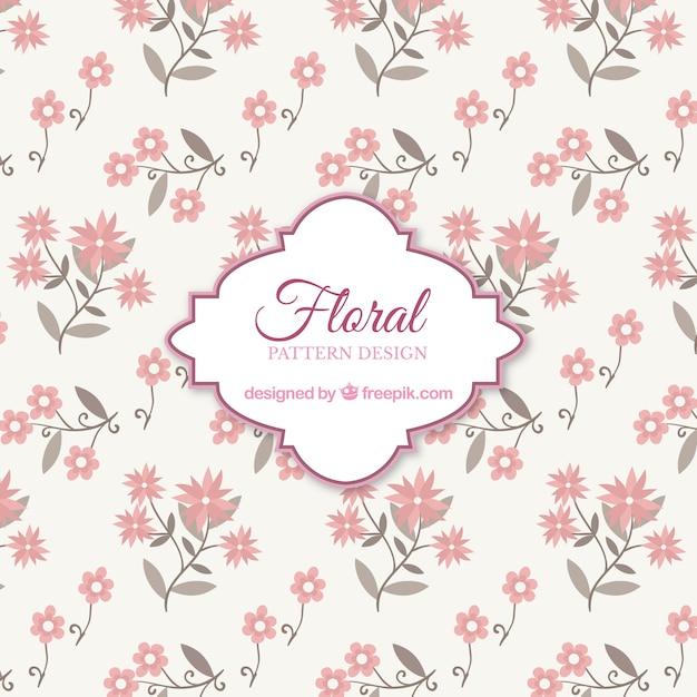 rosa blumenmuster hintergrund mit flachen design download der kostenlosen vektor. Black Bedroom Furniture Sets. Home Design Ideas