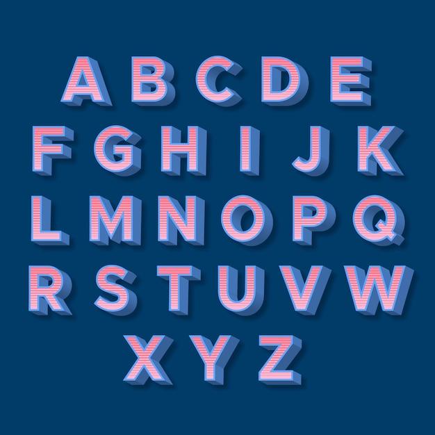 Rosa buchstaben des retro- alphabetes 3d mit blauen schatten Kostenlosen Vektoren