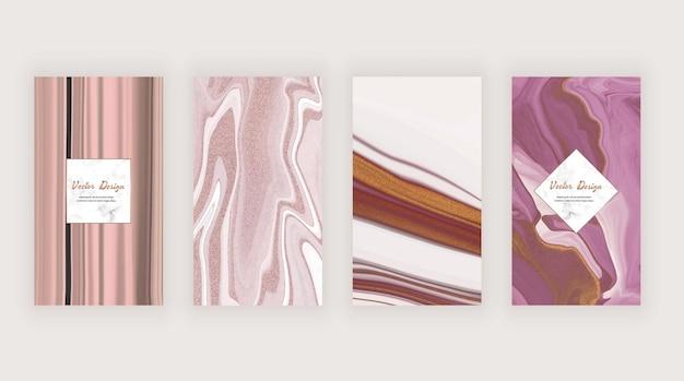 Rosa flüssige tintentextur für soziale medien Premium Vektoren