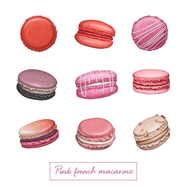 Rosa französische macarons Premium Vektoren