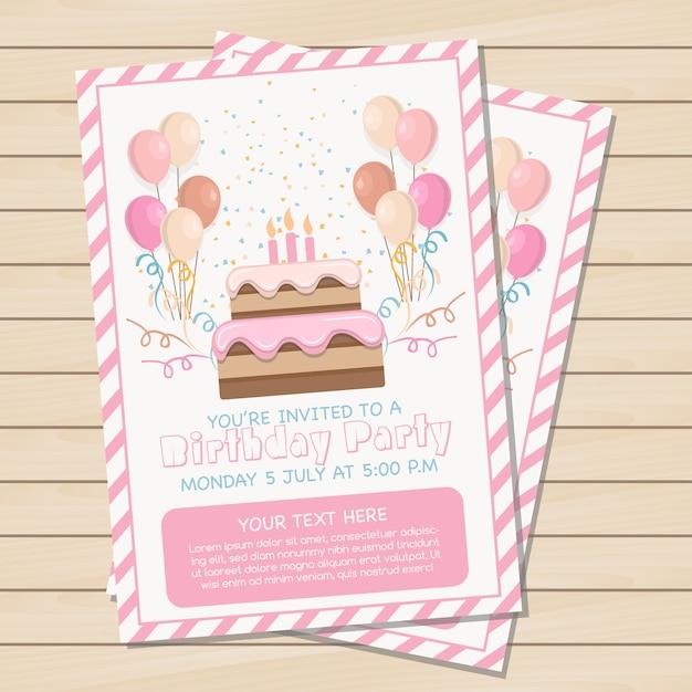 Rosa Geburtstagsfeiereinladung Kostenlose Vektoren